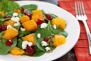 Baby-Spinach-Salad-with-Roasted-Butternut-Squash,-Dried-Cherries,-Gorgonzola-and-Pepitas